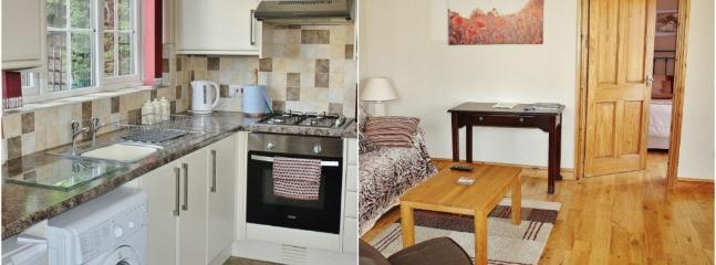 Kitchen area and lounge, suitable for families, children and small groups.