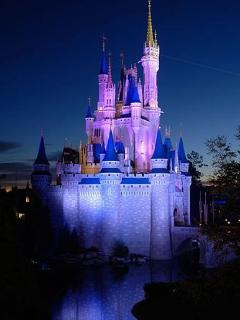 Nighttime at Cinderella's Castle in Magic Kingdom