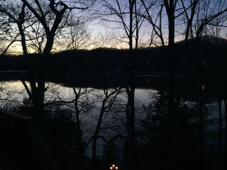 View of lake from living room windows and deck.