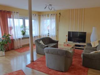 Wohnzimmer mit 50-Zoll-TV