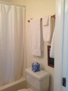Bathroom #2 is just across the hall from Bedroom #2. Towels provided.