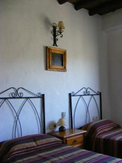 Casa Jazmin's Beautiful Twin Bedroom.  Views to White Villages, Rio Chico, Gorge & Mountains.
