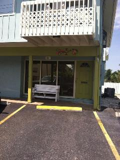 Front entrance is only a 60 seconds from beach. Convenient store/gas station is next door also.