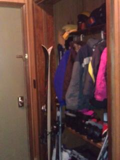 Vestibule closet has lots of space for ski equipment...