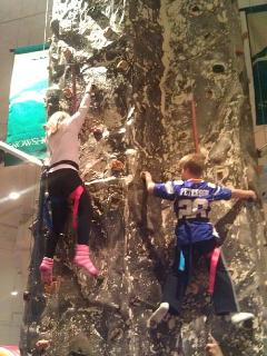 And off the slopes, at the Big Top's climbing wall...