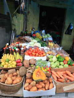 Port Antonio marketplace; enjoy friendly chat with the vendors as you bargain for tropical produce