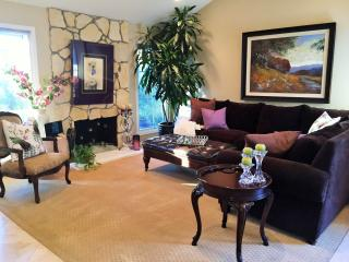 Spacious living room with gas fire place~ chinelle and down filled sectional