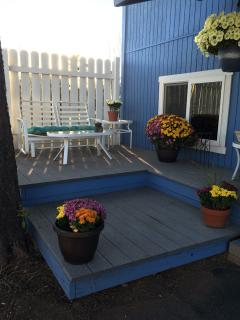 Private deck, at Madeline's Cottage Blueberry Hill . . .