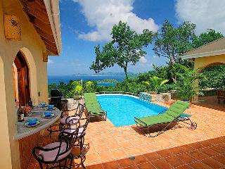 The elegant pool, with half moon bar, with a gorgeous view of Jost Van Dyke in the BVI.