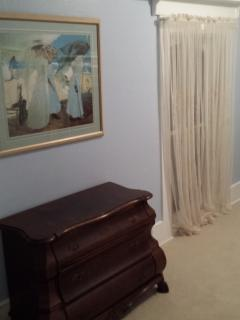 Antique Bombay chest in Northview bedroom.