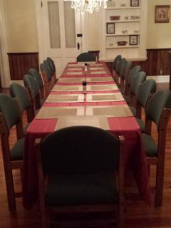 The grand dining room seats 18 to 20.  Awaiting the custom built Amish-style table!