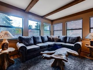 Enjoy the gas fireplace and the large flat screen tv.
