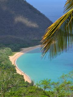 The beach of Grande-Anse, longest of Guadeloupe, is at 2 minutes by car