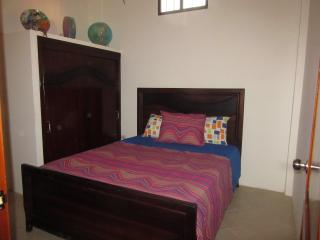 Master bedroom with custom made teak bed