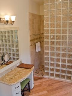 Large walk-in shower of the master bath.