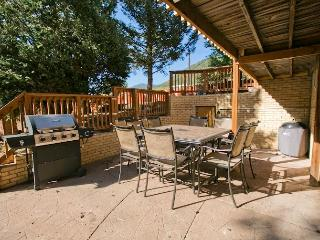Patio with both a gas and charcoal grill.