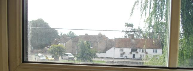 view of pub from front window