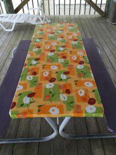 picnic table on mezzanine