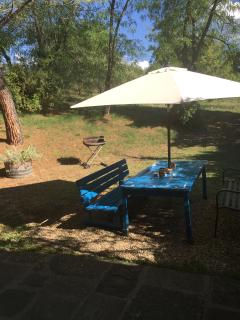 Outdoor dining space in the garden