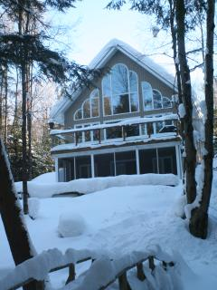 Cottage layered in fluffy Muskoka snow