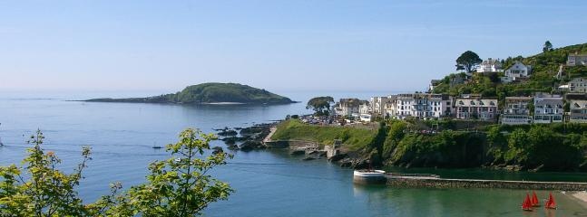 Looe's Banjo Pier and and St George's Island - also known as Looe Island.
