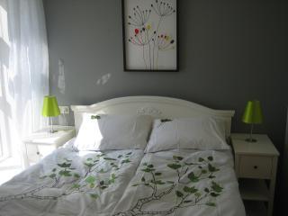 Queen size bed in living room.