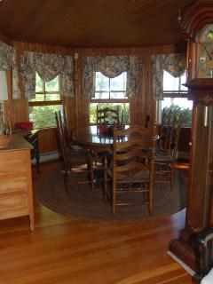 Turret Lakeview Dining Room with cedar woodwork