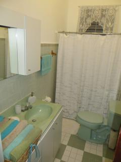 Bathroom #1 with sunlight window.  Bath towels and wash cloths provided for guests...