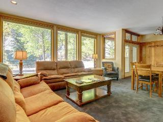 River front condo w/shared pool & hot tub near ski lifts
