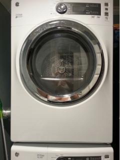 High efficiency washer/dryer in half bath.