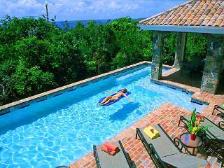 The pool at Las Brisas Caribe offers serene privacy within 15 minutes of St. John's famous beaches!