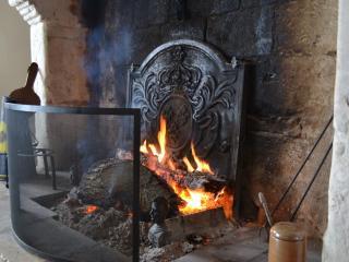 la cheminée monumentale dans laquelle vous pourrez aussi griller viande, poisson ou fruits de mer !