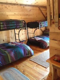 Bunkroom (full size bottom bunks, single top) plus treehouse loft