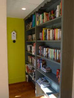 The cuckoo clock and book shelves.