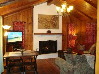 RED CREEK CABIN: Living room with gas log FP, 2 sofas (1 is queen sleeper), HDTV & Dining Area