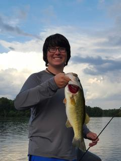 Pickwick Lake house guest Tyler scored with his 5.5 pound bass!