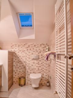 Bathroom is equipped with shower, towels, hair dryer, shampoo/soap/shower gel and other toiletries.