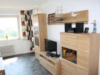 Das Wohnzimmer mit Fernseher und Bluetooth-fähiger Musikanlage