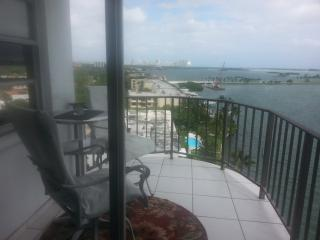 Bay and ocean view from waterfront high rise, North Miami