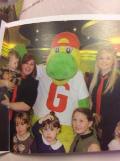 Grunty the dinosaur and friends!  Come and see him in the children's room and join in with the fun!