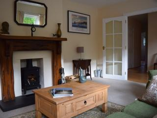 Comfy sofa and  a cosy woodburner in the sitting room