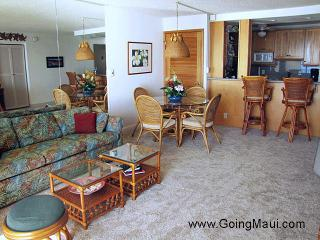 Living room, dining area and kitchen looking in from the lanai