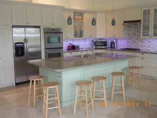 Modern stainless steel appliances, inc. dishwasher, microwave, double oven, fridge freezer.