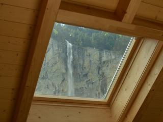Skylight view of famous waterfall from lounge.