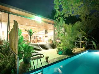 Night-time view of the pool and deck is truly a sight to see