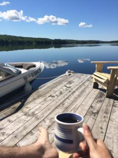 Morning coffee on the dock