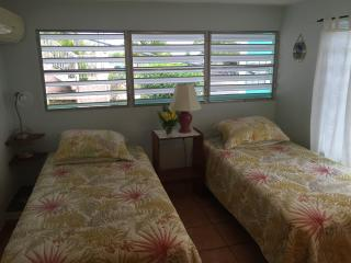 Airy second bedroom with twin beds, AC and wall fan.