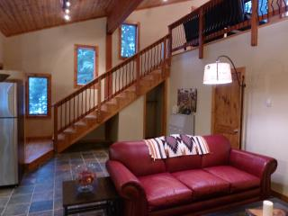 Living room and beautiful wood staircase to upper gallery & bedroom