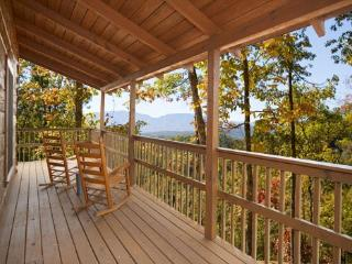 Deck with Rocking Chairs and Smoky Mountain View at Mountain Memories