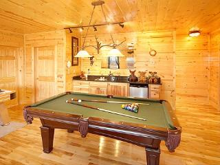 Game Room with Pool Table and Wet Bar at Moose Mountain Lodge